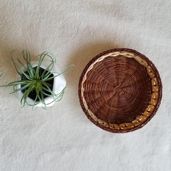 Vintage Boho Flat Basket Plate Bowl